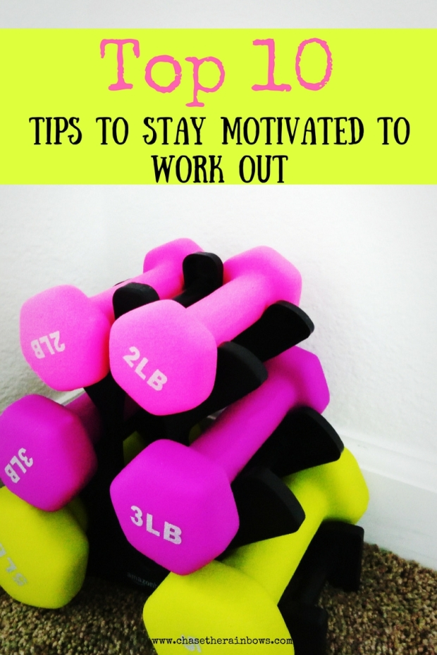Top 10 Tips To Stay Motivated To Work Out - If you are having trouble staying focused and motivated to exercise then this is the post for you! It includes 10 practical tips to stay driven and excited about fitness - woohoo! Click through to check out the tips!