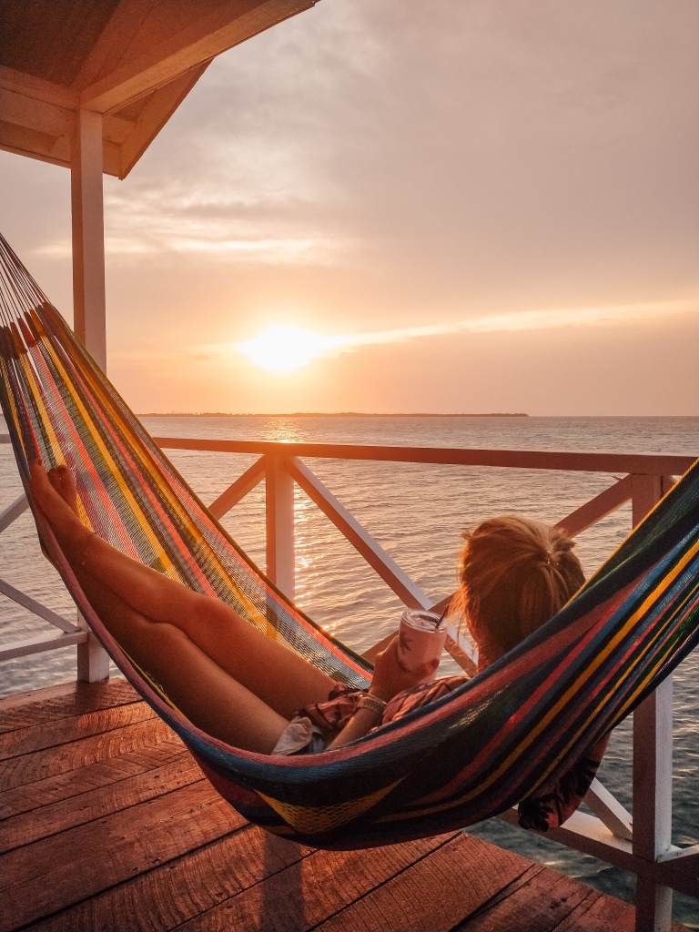 Belize hammock sunset Tobacco Caye