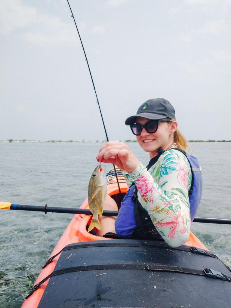 Belize fishing kayak Tobacco Caye